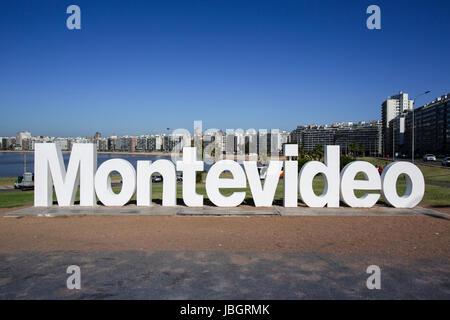 View of Montevideo sign at La Rambla, Montevideo, Uruguay - Stock Photo