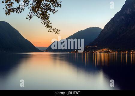 Italian Lakes - Lake Lugano at Porlezza in northern Italy at dusk. - Stock Photo