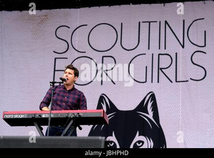 Newport, Isle of Wight, UK. 11th June, 2017. Isle of Wight Festival Day 4 - British band Scouting for Girls performing - Stock Photo