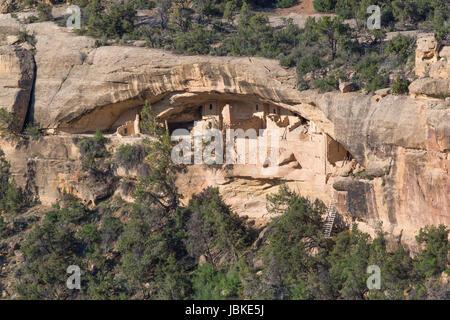 Balcony House Ruins, Mesa Verde National Park, UNESCO World Heritage Site, Colorado, USA - Stock Photo