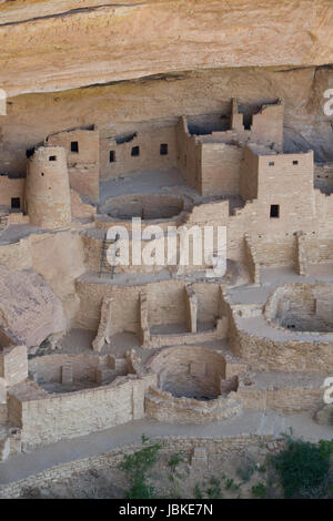 Cliff Palace Ruins, Mesa Verde National Park, UNESCO World Heritage Site, Colorado, USA - Stock Photo