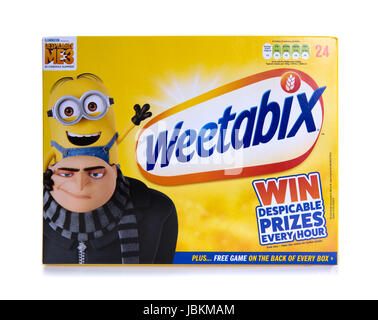 SWINDON, UK - JUNE 11, 2017: 24 pack of Weetabix, Weetabix is a whole grain wheat breakfast cereal produced by Weetabix - Stock Photo