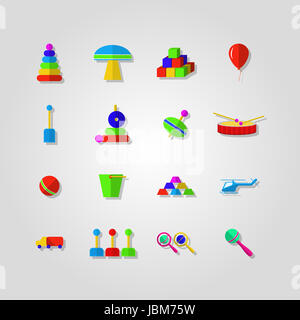Set of colored icons for children toys on light gray background. - Stock Photo