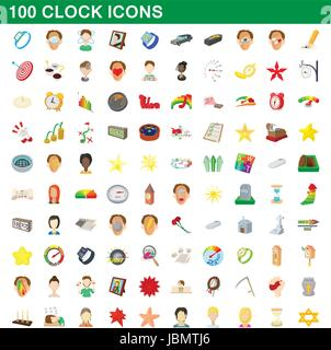 100 clock icons set, cartoon style - Stock Photo