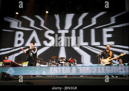 Bastille performs on day four of the Isle of Wight Festival 2017, at Seaclose Park, Isle of Wight. - Stock Photo