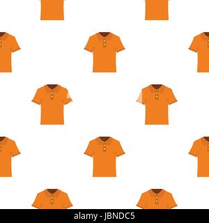 Orange men polo shirt pattern seamless background in flat style repeat vector illustration - Stock Photo