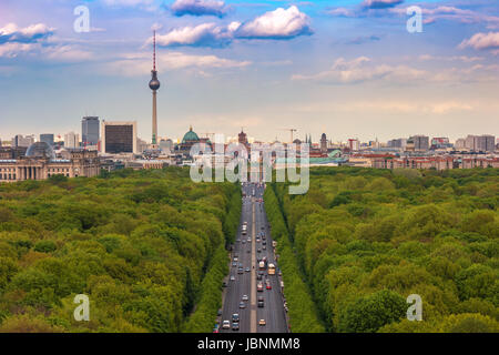 Berlin city skyline and Tiergarten, Berlin, Germany - Stock Photo