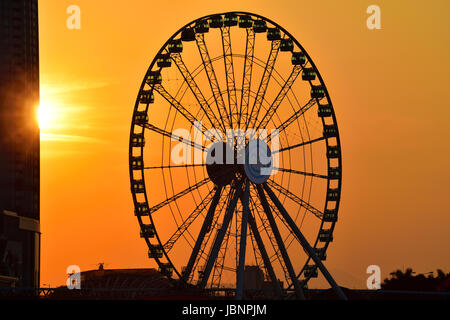 Aerial of the new observation wheel, and the International Commerce Center ICC, Hong Kong, China.hong kong - Stock Photo