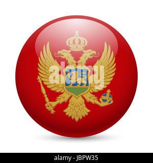 Flag of Montenegro as round glossy icon. Button with Montenegrin flag - Stock Photo