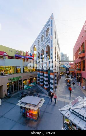 The Westfield Horton Plaza outdoor shopping mall in the Gaslamp Quarter in San Diego, southern California, United - Stock Photo