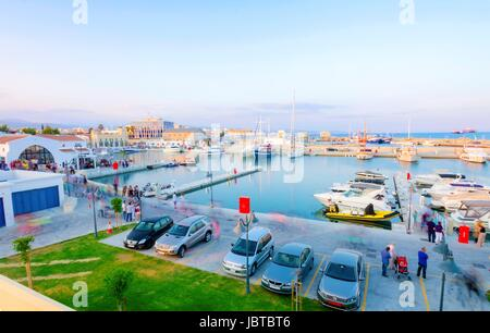 The beautiful Marina in Limassol city in Cyprus. A very modern, high end and newly developed area where yachts are - Stock Photo