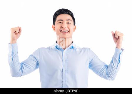 Goal achievement. Businessman rejoicing for his success - Stock Photo