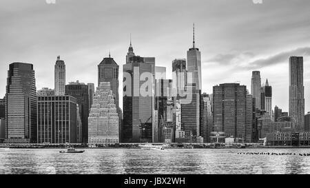 Black and white photo of Manhattan, New York City, USA. - Stock Photo