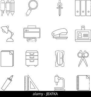Stationery icons set, outline style - Stock Photo