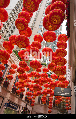 Vertical view of Chinese New Year decorations hanging up at the Lee Tung Street urban renewal project in Hong Kong, - Stock Photo