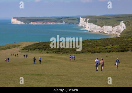EAST SUSSEX, UK - MAY 25TH 2017: The view towards Birling Gap and the Seeven Sisters Chalk Cliffs in East Sussex, - Stock Photo