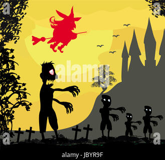 zombie attacks - funny card for Halloween - Stock Photo