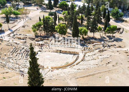 view of Theatre of Dionysus on Acropolis Hill, Athens - Stock Photo
