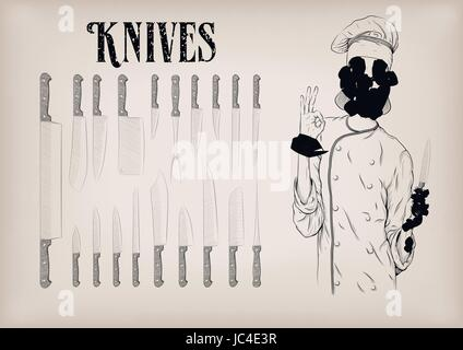 Kitchen tools utensils equipment ware set: knives chef's knife peeling; woman chief cooker worker happy smile portrait. - Stock Photo