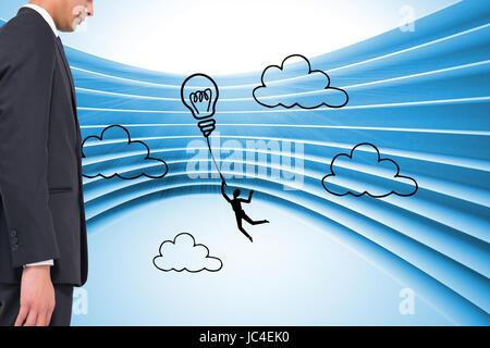 Composite image of light bulb graphic on futuristic blue background - Stock Photo