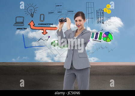 Composite image of businesswoman posing with binoculars - Stock Photo