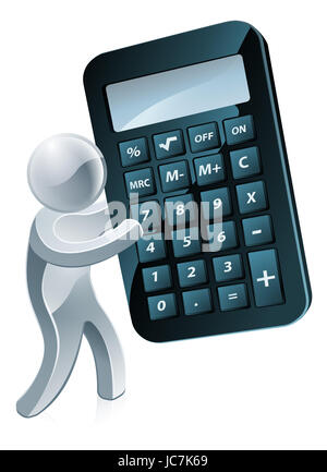 A silver mascot person holding a very large calculator - Stock Photo