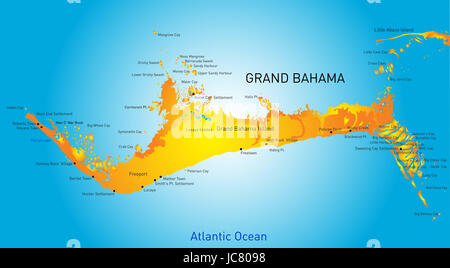 Grand Bahama vector color map - Stock Photo