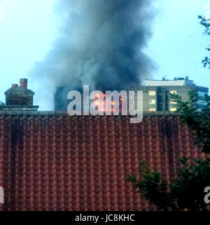 London, UK. 14th Jun, 2017. Grenfell Residential Tower ablaze in West London UK, multiple fatalities reported. Credit: - Stock Photo