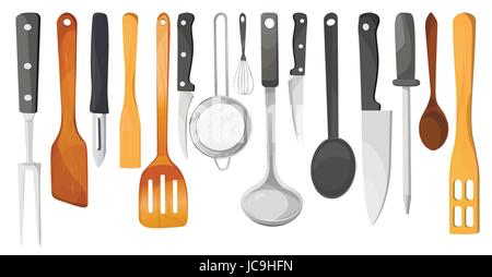 Kitchen tools, untensils, equipment ware set: knives  whisk peeler trowel meat fork percolator spatula spoon ladle.Vector - Stock Photo