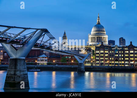 St. Paul's Cathedral, Millennium Bridge and River Thames, London, England, United Kingdom - Stock Photo