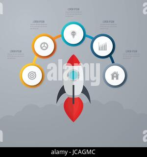 Business infographics. Timeline with 5 circles - Stock Photo