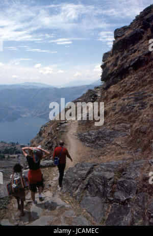 Reportage Nepal 1980. Pokhara, trekking trail to Sarangkot - Stock Photo