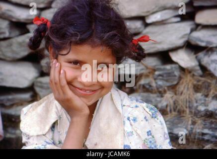 Reportage Nepal 1980. Pokhara, a nepalese young girl - Stock Photo