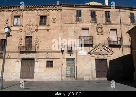 Salamanca (Castilla y Leon, Spain): facade of the historic building known as Palacio de Monterrey - Stock Photo