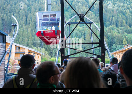 CHAMONIX, FRANCE - SEPTEMBER 02: Aiguille du Midi gondola approaching station. The cable car is the highest in Europe, - Stock Photo