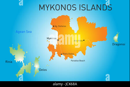 Vector color map of Island of Mykonos in Greece - Stock Photo