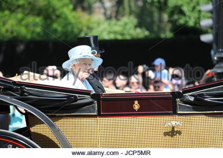 London, UK. 17th June, 2017. Queen Elizabeth II, and Prince Philip, Duke of Edinburgh in horse-drawn carriage along - Stock Photo
