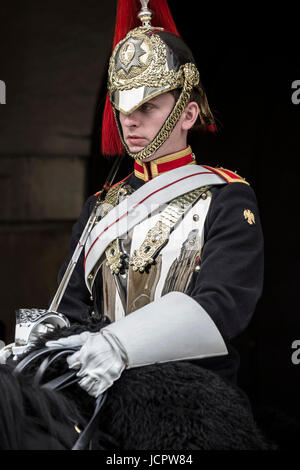 Life Guard mounted on horse, Household Cavalry Museum, London, England, United Kingdom - Stock Photo