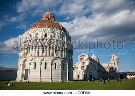 The Baptistery, Cathedral and Leaning Tower of Pisa. - Stock Photo