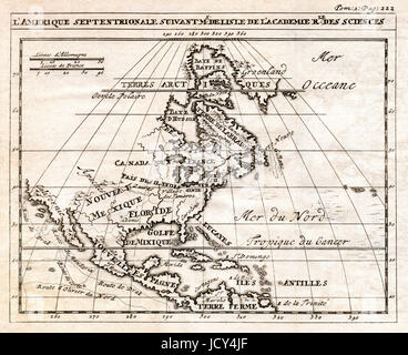 An early antique map of North America showing Canada, Mexico and the British Colonies prior the Revolution - Stock Photo