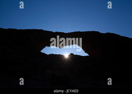 Gran Canaria,  stone arch La Ventana del Nublo, evening light - Stock Photo
