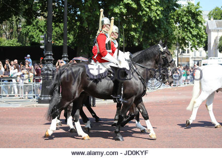 London, UK. 17th June, 2017. Troopers of the Life Guards riding along The Mall behind the Brigade Major Household - Stock Photo