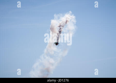 Weston-Super-Mare, England, UK. 17th June, 2017. Schweizer 300 'Otto' helicopter aerobatic display at Weston Air - Stock Photo
