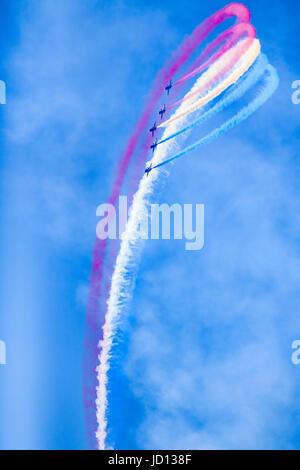 Weston-Super-Mare, England, UK. 17th June, 2017. RAF Red Arrows perform dazzling aerobatics at Weston Air Festival. - Stock Photo