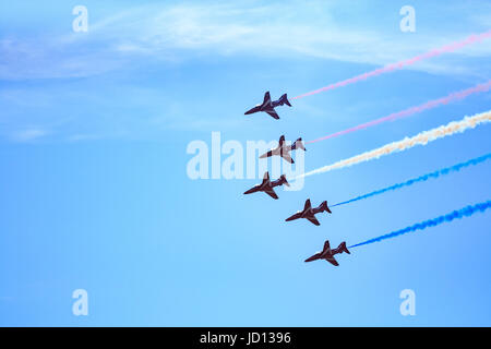 Weston-Super-Mare, England, UK. 17th June, 2017. RAF Red Arrows in formation at Weston Air Festival. Credit: Hannah - Stock Photo
