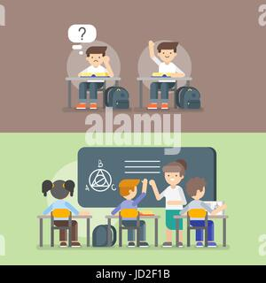 Vector illustration of kids at school. Back to school concept. Teacher and kids on the lesson. - Stock Photo