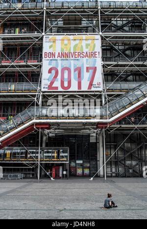 PARIS FRANCE - MUSEUM CENTRE  GEORGES POMPIDOU -BEAUBOURG CELEBRATING IT'S 50 TH YEARS  © Frédéric BEAUMONT - Stock Photo