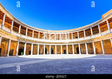 Alhambra of Granada, Spain. Courtyard of the Palace of Charles V - Stock Photo
