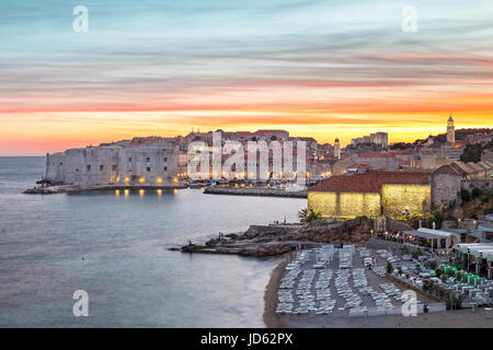 The illuminated old town in Dubrovnik in the evening, Croatia - Stock Photo