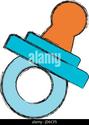 baby pacifier icon over white background vector illustration - Stock Photo